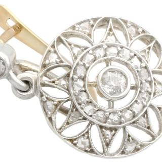 0.59ct Diamond, 14ct Yellow Gold Drop Earrings - Antique Circa 1905