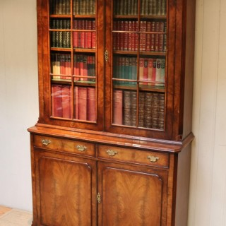 Good Quality Walnut Cabinet Bookcase