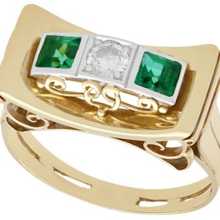 0.42ct Tourmaline and 0.25ct Diamond, 14ct Yellow Gold Ring - Art Deco Style - Vintage Circa 1950