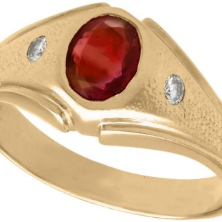 Synthetic Ruby and Diamond, 18 ct Yellow Gold Ring - Vintage Circa 1950