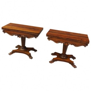 Pair of George IV Rosewood Card Tables