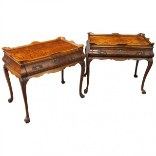 Matched Pair of Dutch Burr Walnut Silver Tables