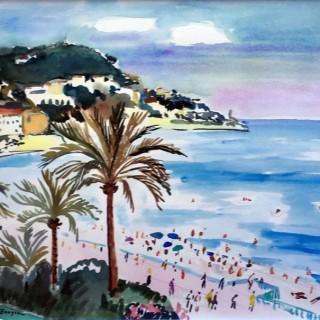 Plage de Nice  by  Yves Brayer (1907 – 1990)
