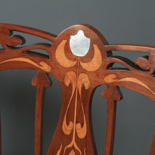 Antique English Edwardian Art Nouveau / Jugendstil Marquetry Inlaid Mahogany Occasional Salon Carver Arm Chair (Circa 1910)