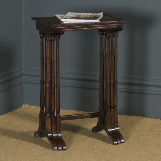 Antique English Set of Three Georgian Regency Rosewood & Mahogany Trio Nest of Side / Lamp / Coffee Tables (Circa 1820)