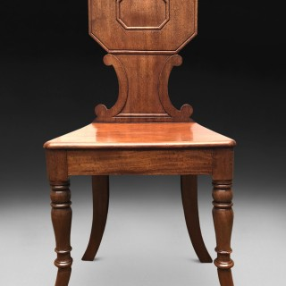 Unusual pair of Regency Period Mahogany Hall Chairs