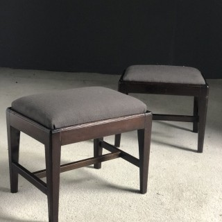 Pair of mahogany foot stools c1780