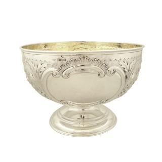 Antique Edwardian Sterling Silver Bowl on Pedestal Foot 1910