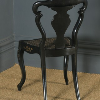 Antique English Victorian Ebonised Gilt & Mother of Pearl Chinoiserie Occasional Side Chair (Circa 1850)