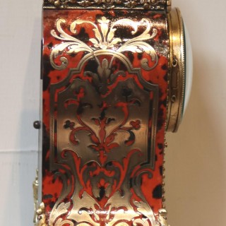 Small French Tortoiseshell and Brass inlay Mantel Clock