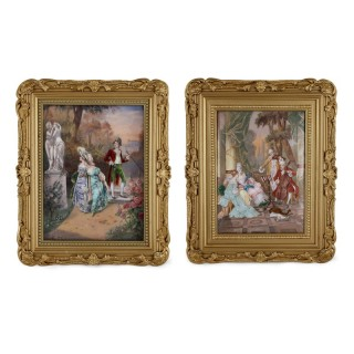 Large pair of Limoges enamel plaques in giltwood frames