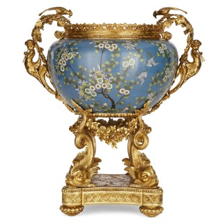 French gilt bronze and Chinese cloisonné enamel jardinière