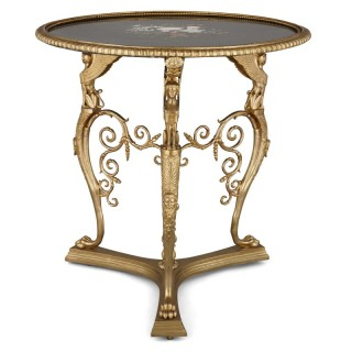 Gilt bronze and pietra dura round table by Barbedienne