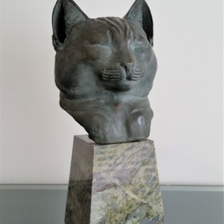 Wolfram Onslow Ford  bronze bust of a cat c.1900