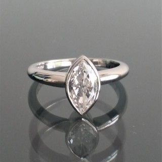 Vintage marquise cut D colour diamond in new platinum mount