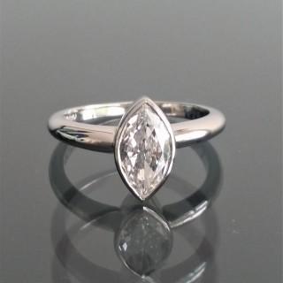Vintage marquise cut D colour diamond in new platinum mount