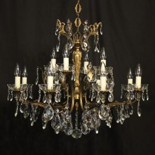 Italian Pair Of 12 Light Antique Chandeliers