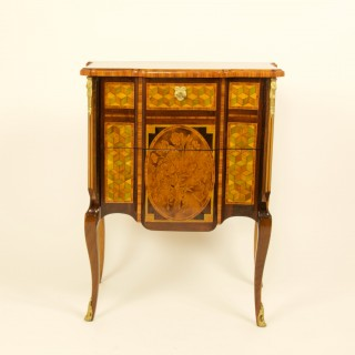 French 18th Century Transition Louis XVI Marquetry Commode or Sauteuse