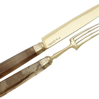 Indian Silver Gilt and Agate Handled Travelling Knife and Fork - Antique Circa 1880