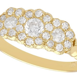 1.01 ct Diamond and 18 ct Yellow Gold Trilogy Cluster Ring - Antique Circa 1910