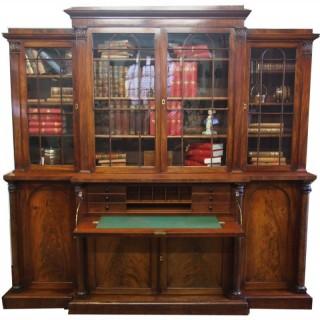 William IV Mahogany Breakfront Secretaire Bookcase