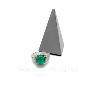 Cabochon Emerald and Diamond Bombe Ring