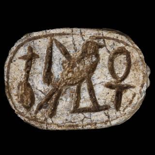 Egyptian Steatite Scarab Dedicated to Horus