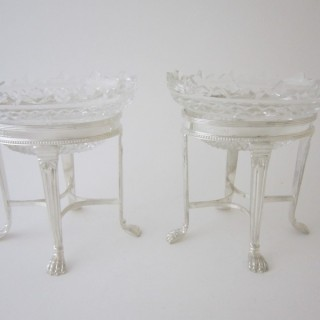 A pair of Elizabeth II Sterling silver and glass dishes