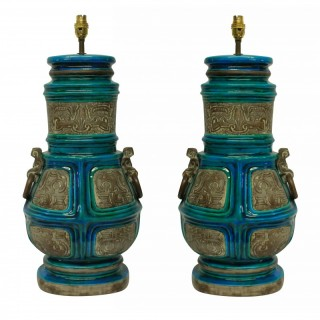 A PAIR OF LARGE UGO ZACCAGNINI TABLE LAMPS