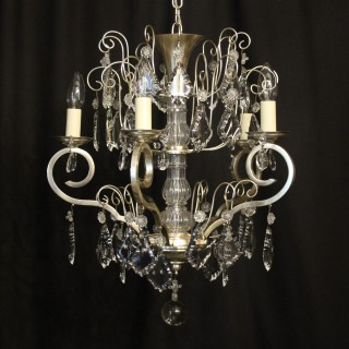 French Silver Gilded 5 Light Antique Chandelier