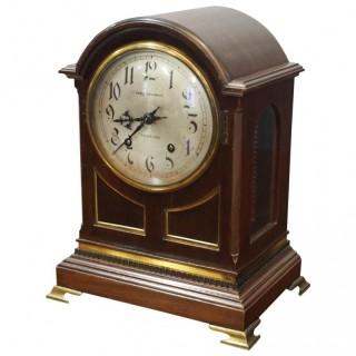Inlaid Mahogany Mantel Clock by Hamilton & Inches