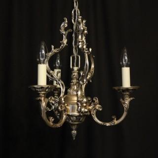 Italian Silver Gilded Triple Light Chandelier