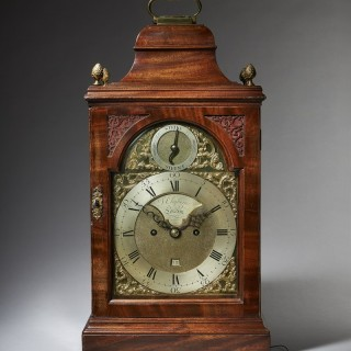 A superb George III 18th century English spring-driven mahogany table clock  by Cleghorn LONDON