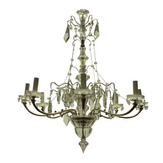 A FRENCH SILVER & CUT GLASS CHANDELIER