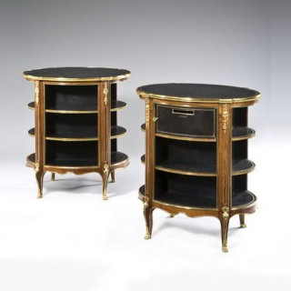 A pair of Napoleon III kingwood freestanding open bookcases