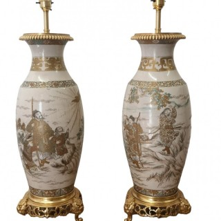 PAIR OF 19TH CENTURY JAPANESE SATSUMA VASES AS TABLE LAMPS