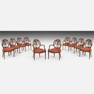 Set of Ten Mid-20th Century Mahogany Elbow Chairs