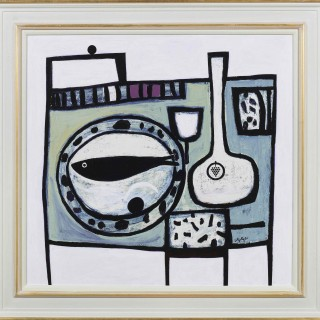 'Fish and Bottle' original painting by Scottish artist Simon Laurie