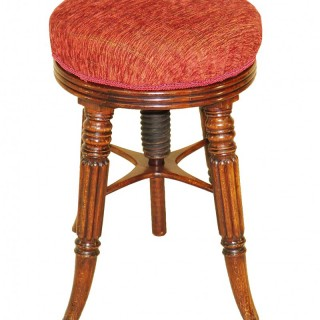 Regency Circular Mahogany Adjustable Piano Stool