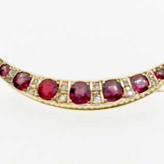 Diamond and Garnet Crescent Brooch