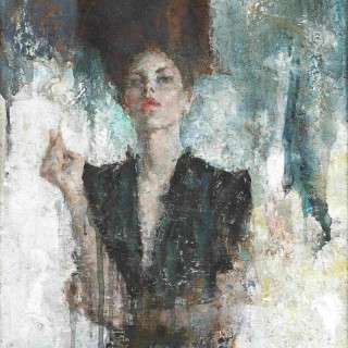 'Behind the Mirror' figurative painting by British artist Michael Hyam