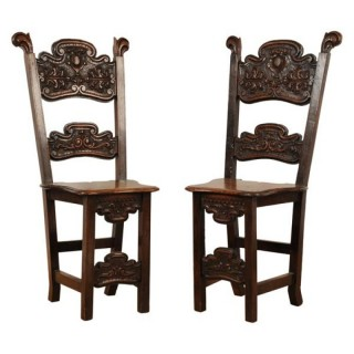Pair rare walnut chairs or sgabelli, North Italy, mid 17th century