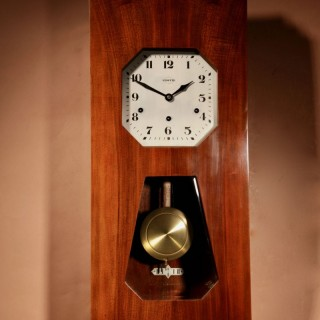 A Vedette Plain Very Stylish Art Deco Westminster Carillon Walnut Wall Clock French circa 1935