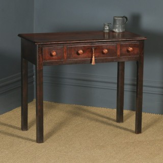 Antique English Georgian Mahogany Three Drawer Occasional Hall Writing Lowboy Side Table (Circa 1800)