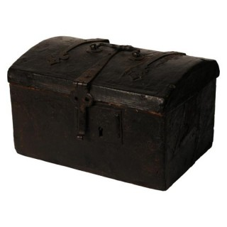 Leather covered wooden casket with ironwork, French circa 1600