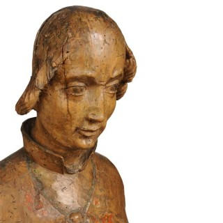 Limewood Bishop Saint, South German circa 1350