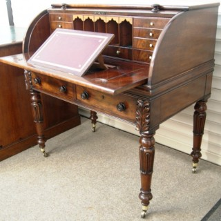 A Very Fine Irish,  William IV period, Mahogany Cylinder Top Desk