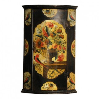 Painted bow front corner cupboard, Dutch, early 18th century