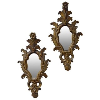 Pair giltwood reflector mirrors, South Italian, late 18th century