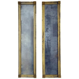 Pair of giltwood narrow pier mirrors, French, Louis XVI, circa 1790